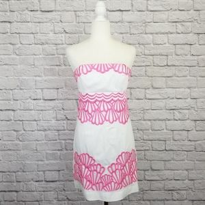 Lilly Pulitzer Bowen white pink embroidered dress
